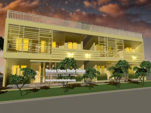 Desain 3D Kontrakan Dan Rumah Kos 2 Lantai
