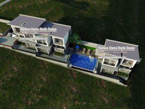 Desain Gambar 3D Villa Modern 2 Lantai