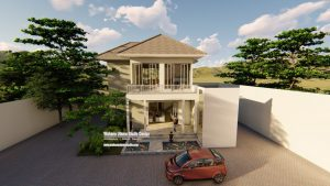Denah Rumah 2 Lantai Modern Tropis Minimalis