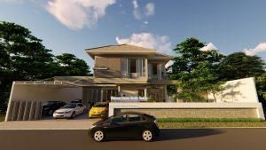 Desain Fasad Rumah 2 Lantai Modern Tropis