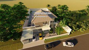 Gambar 3D Desain Rumah Tropis 2 Lantai