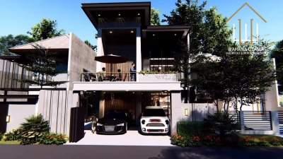 Desain Rumah Split Level Mewah Lahan 8x22 Bapak Antoro di Balik Papan