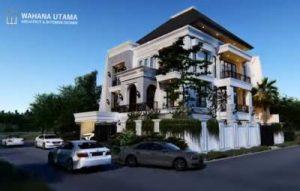 3D Gambar Arsitek Rumah Klasik Modern Tropis